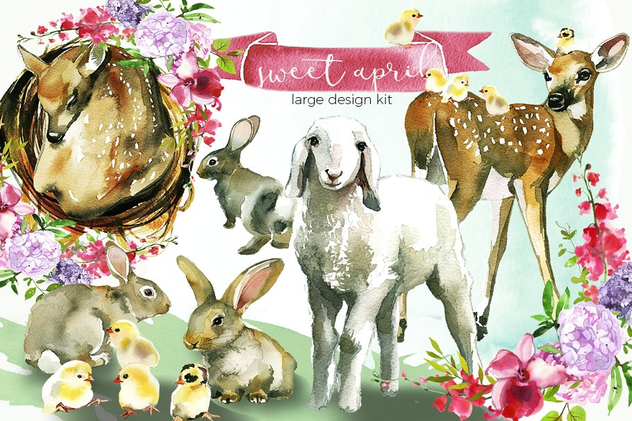 Easter Animals Flowers Clipart ~ Illustrations ~ Creative Market.