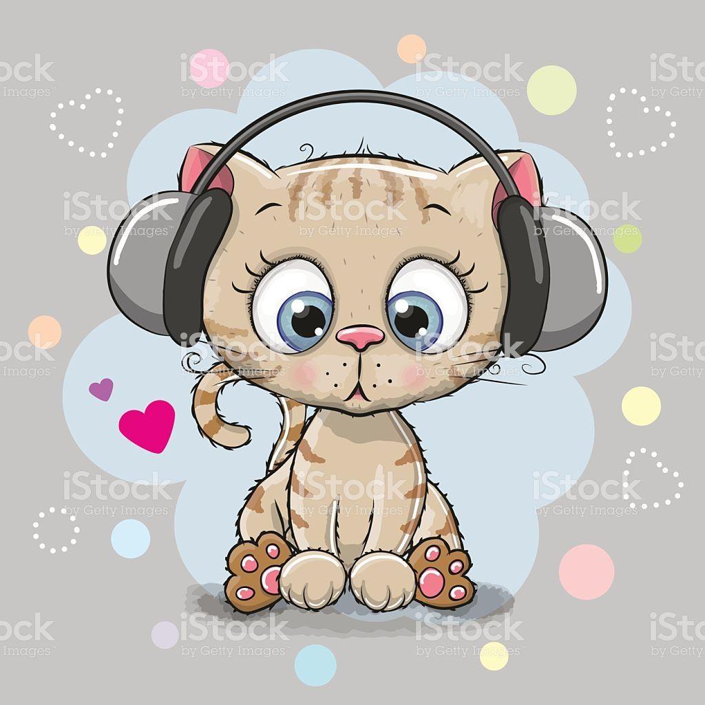 Cute cartoon Kitten with headphones on a gray background.