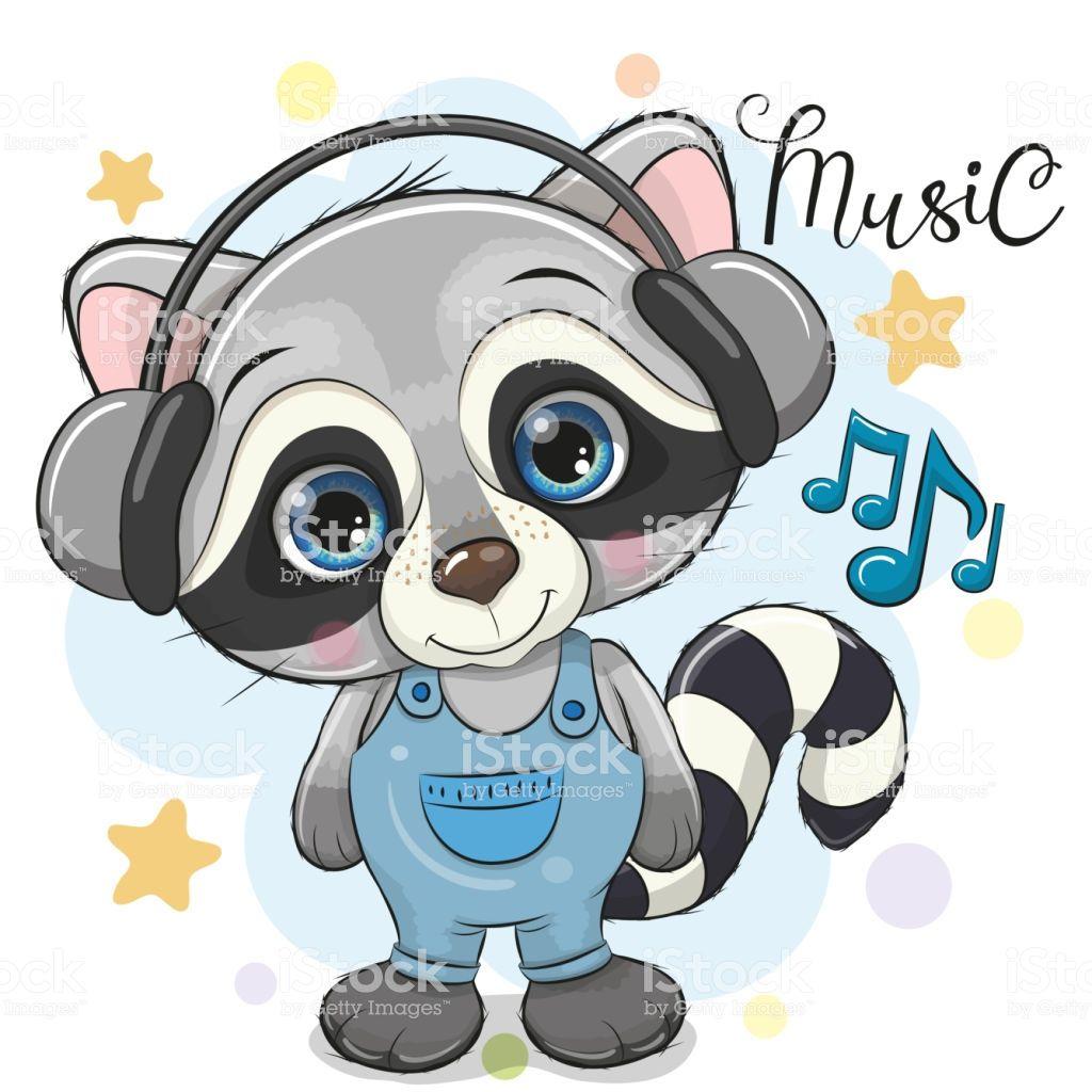 Cute Cartoon Raccoon with headphones on a blue background.