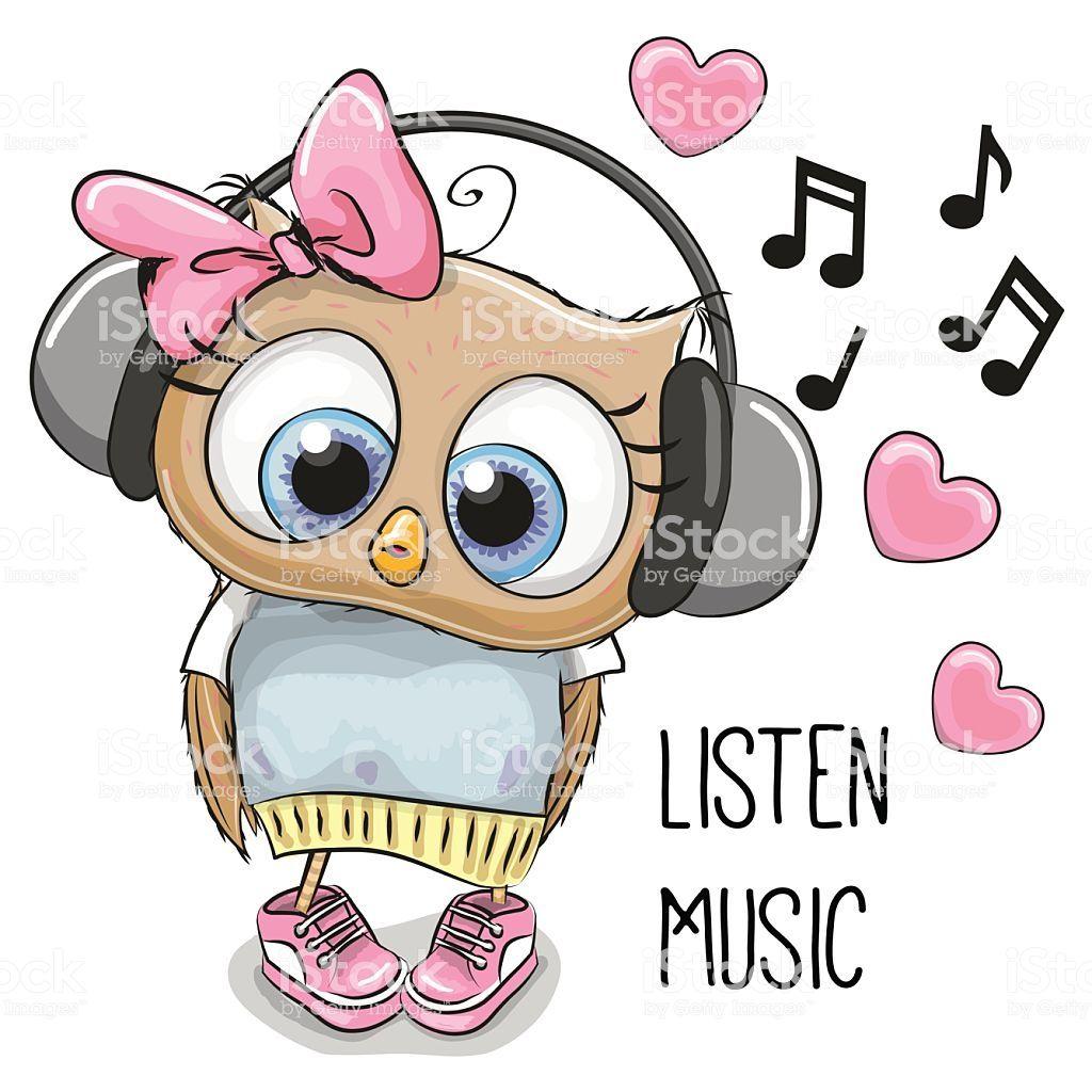 Cute cartoon Owl Girl with headphones and hearts.