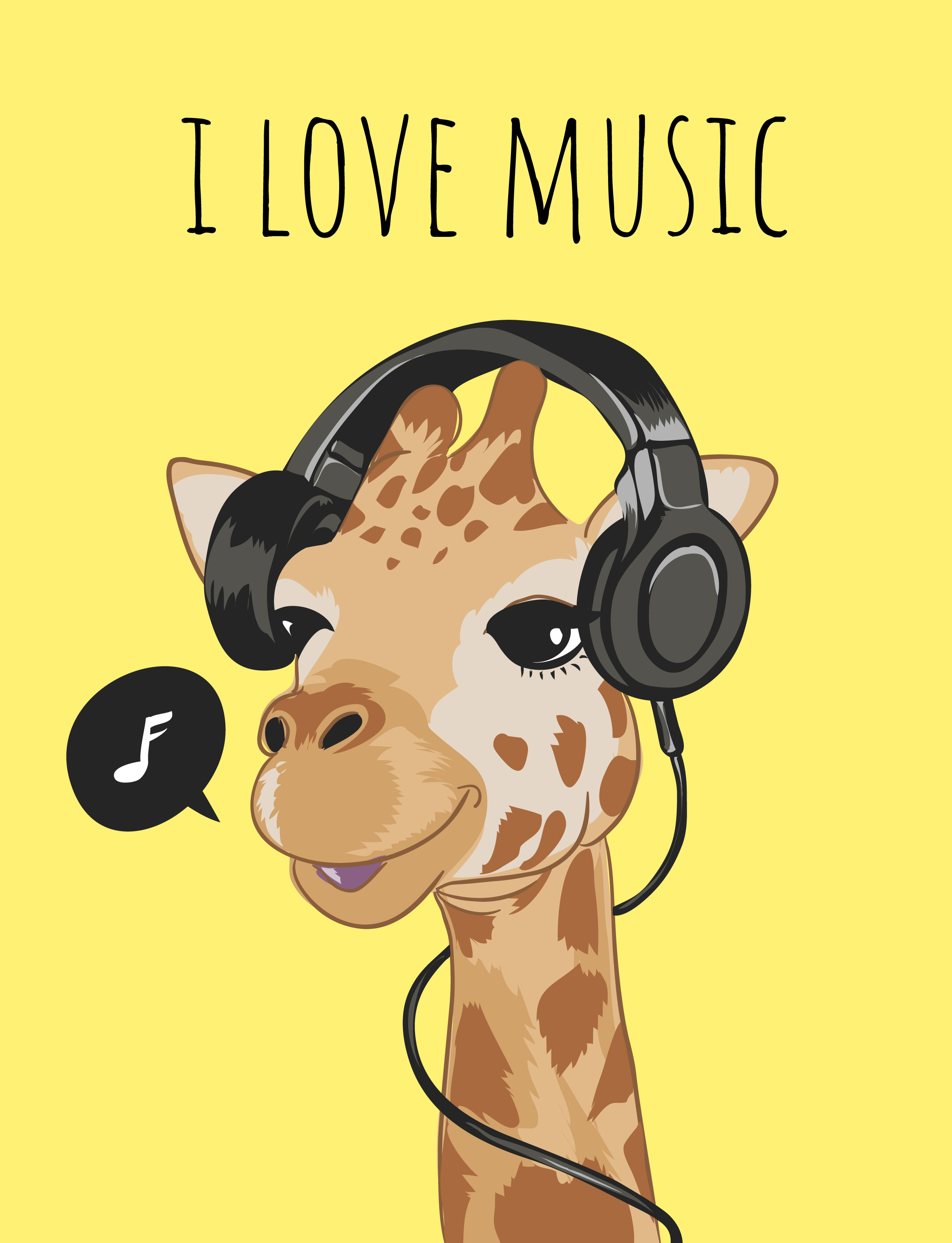 cute giraffe on headphone cartoon illustration.