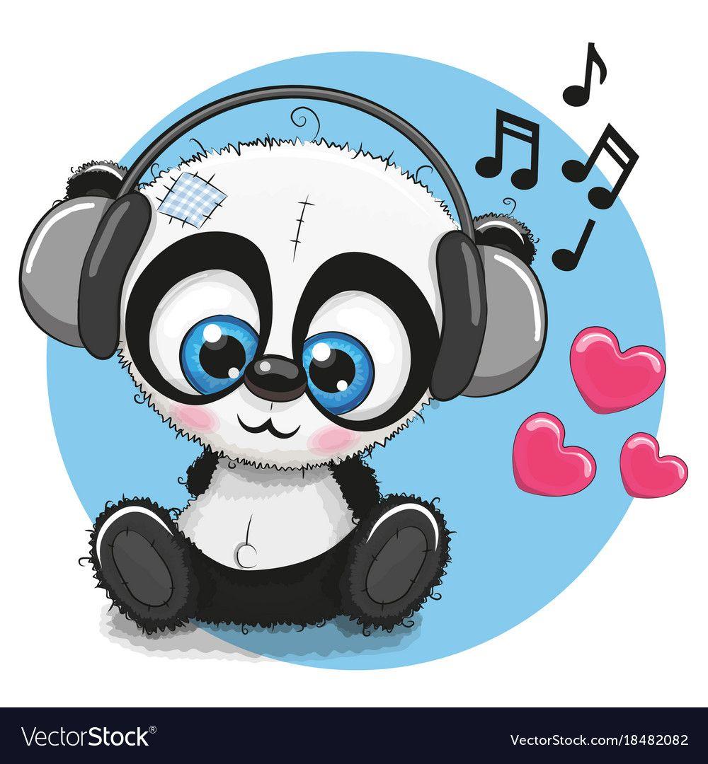 Cute cartoon panda with headphones Royalty Free Vector Image.
