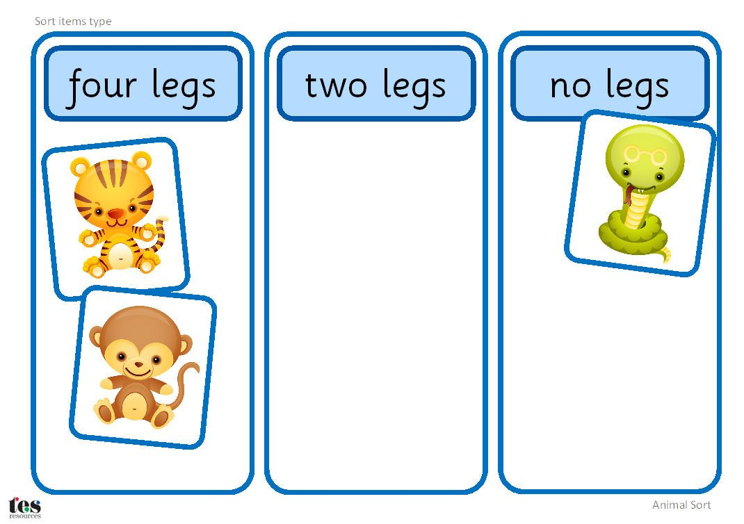 Simple sorting activity featuring the twelve animals of the.