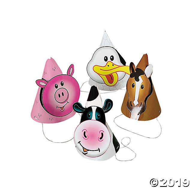 Farm Party Die Cut Cone Hats.
