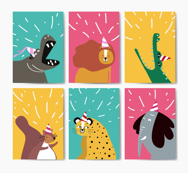 Collection of cute animals in party hats cartoon Vector.