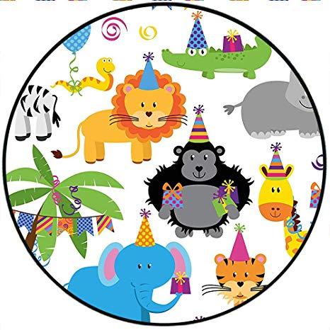 Amazon.com: Short Plush Round Rugs Birthday for Kids Jungle.