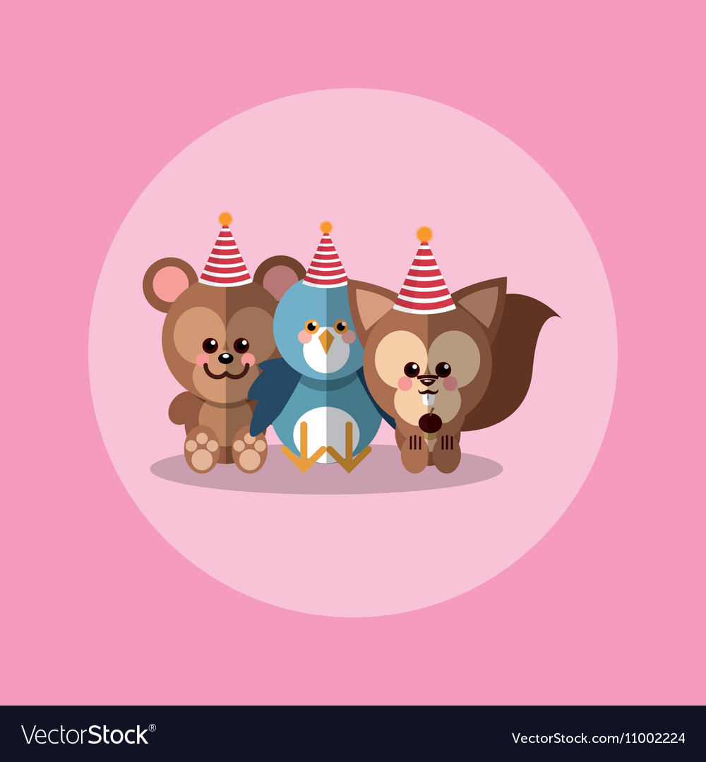 Cute festive animals with party hat image.