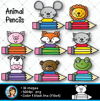 Animal Pencils Clip Art.