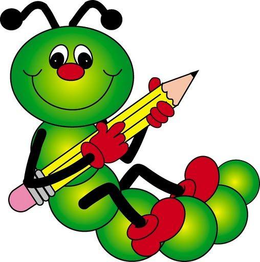 Caterpillar with pencil clip art dibujos bellos.