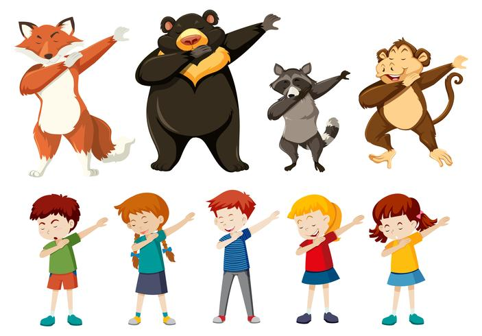Set of dabbing people and animals.