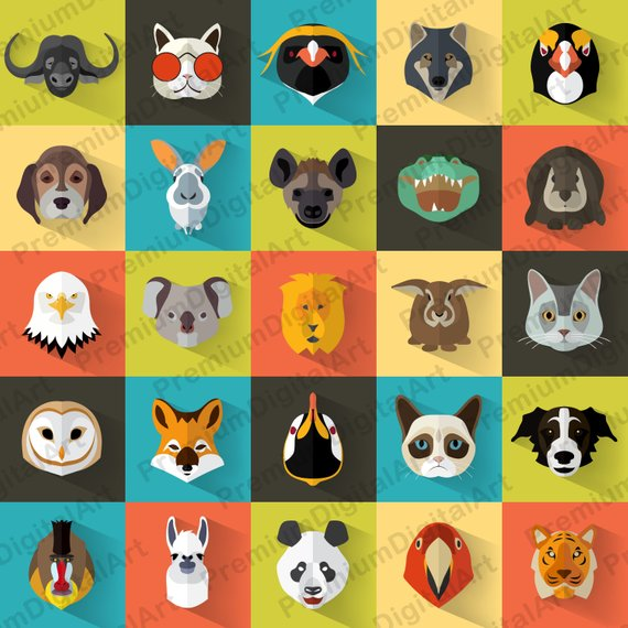 25 Kids Animals clipart, Kids clipart set, animals kids.