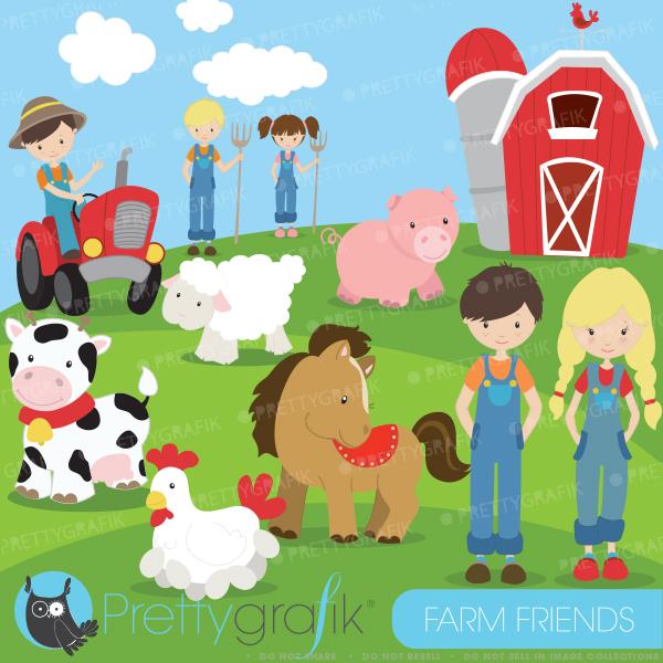 Crop Farm Animal People Clipart.