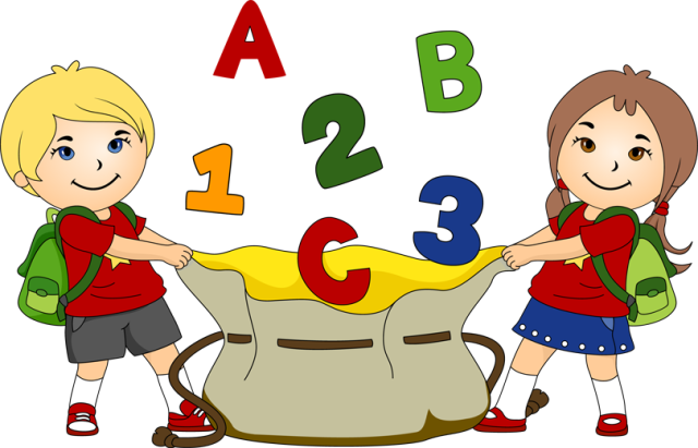 Kids With School Bag Clipart.