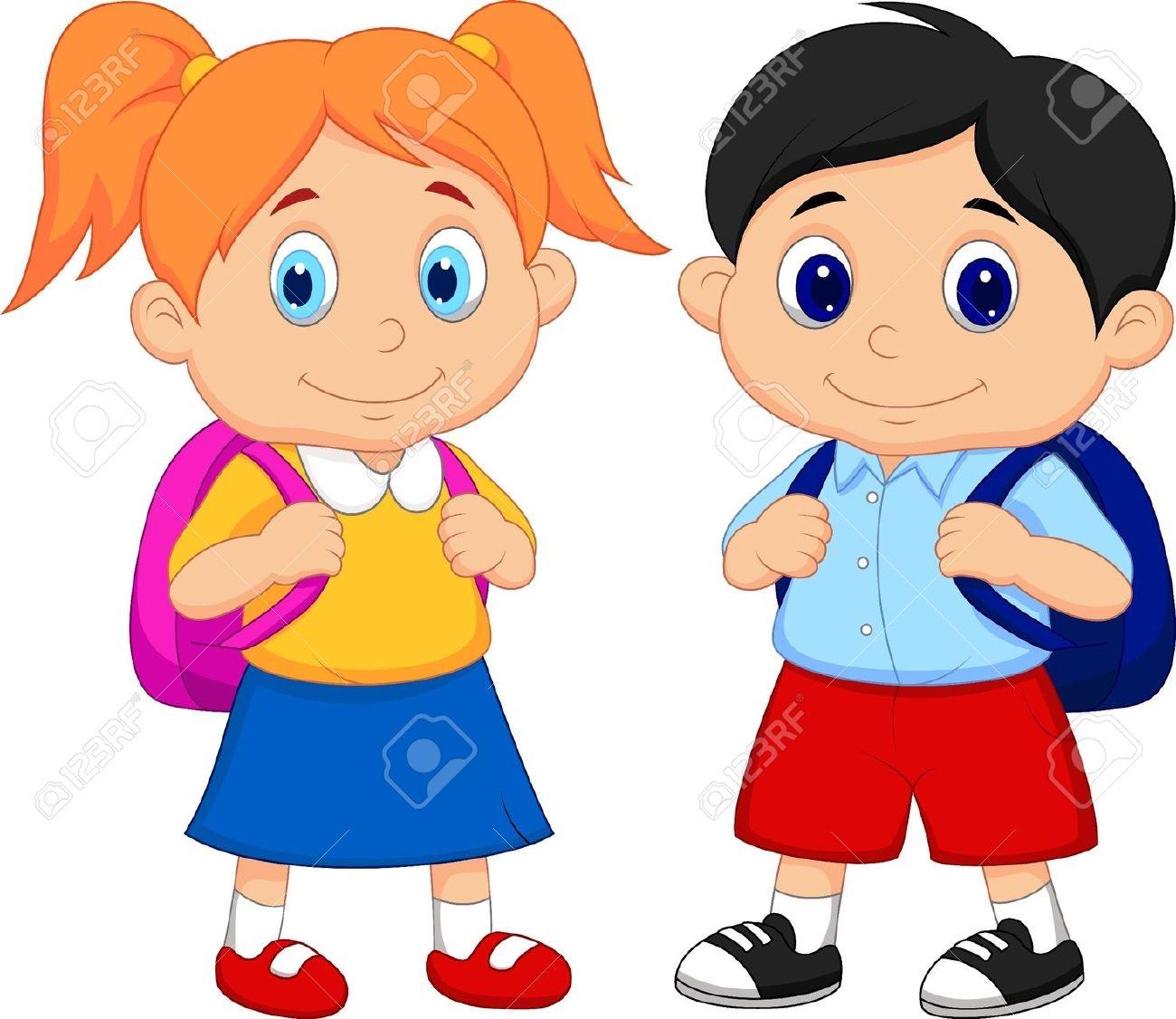 School Student With School Bag Clipart.