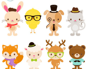 Animal With Glasses Clipart.
