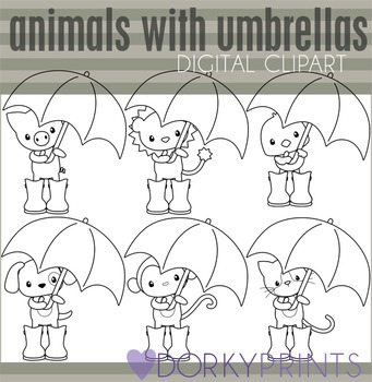 Animals with Umbrellas Black Line Clip Art.