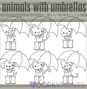 Animals with Umbrellas Black Line Clip Art.