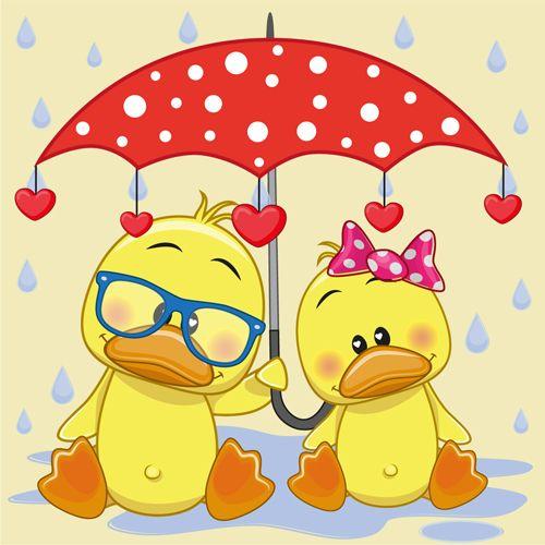 Cute animals and umbrella cartoon vector 04.