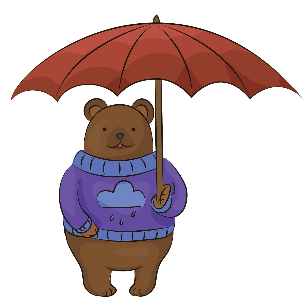 Bear with umbrella clipart. Free download..
