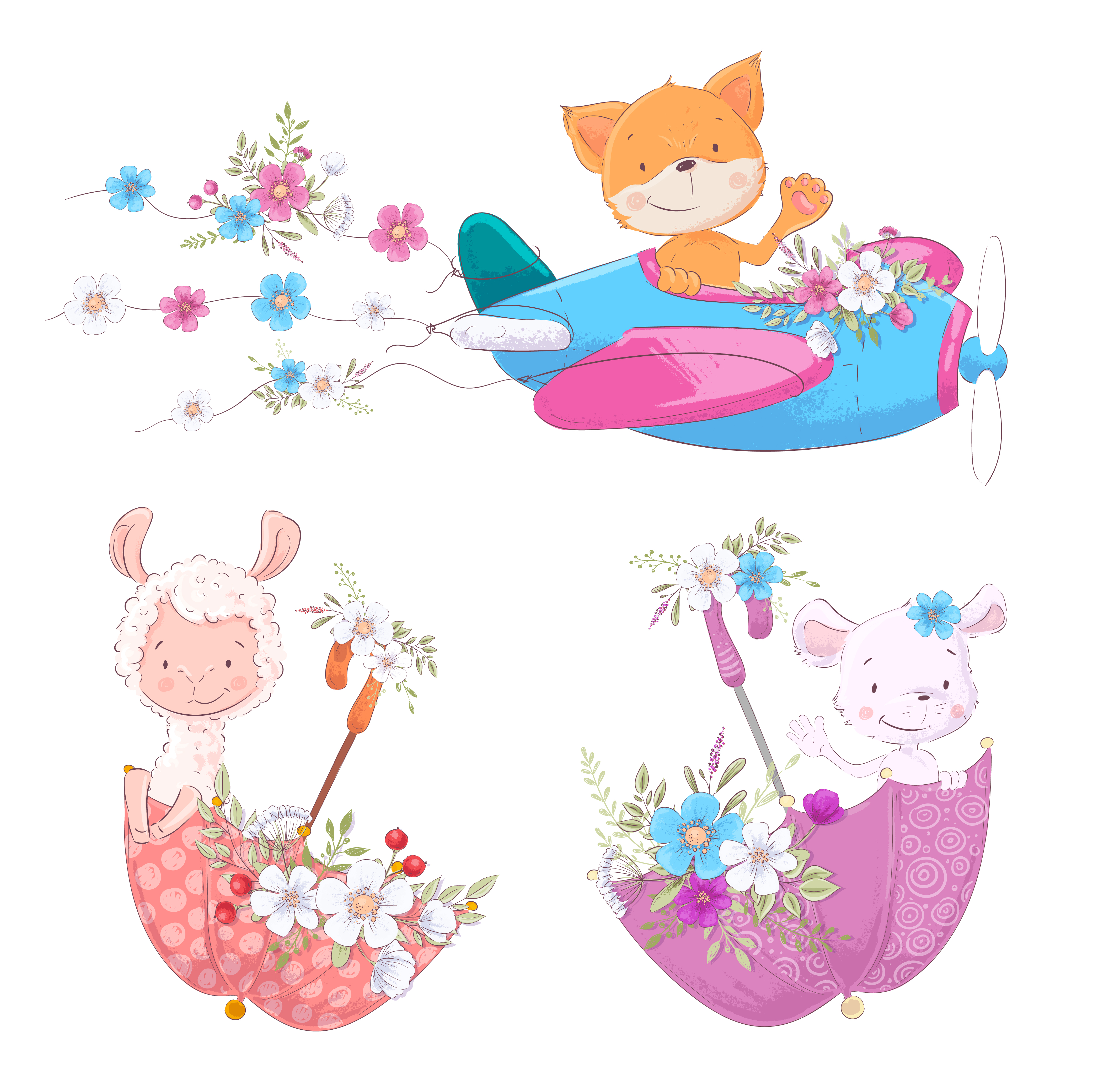 Set cute cartoon animals fox Lama and mouse on the plane and.