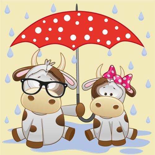 Cute animals and umbrella cartoon vector 19.