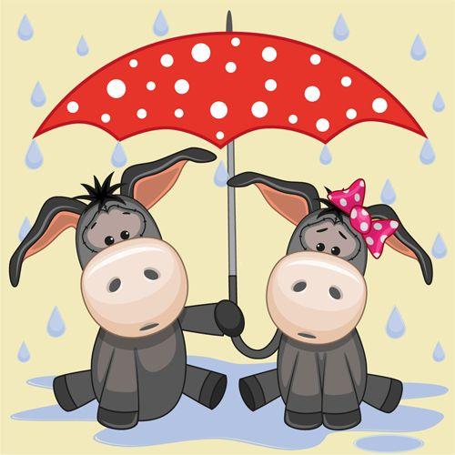 Cute animals and umbrella cartoon vector 10.