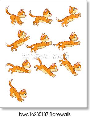 Cat Jumping Animation Sequence art print poster.