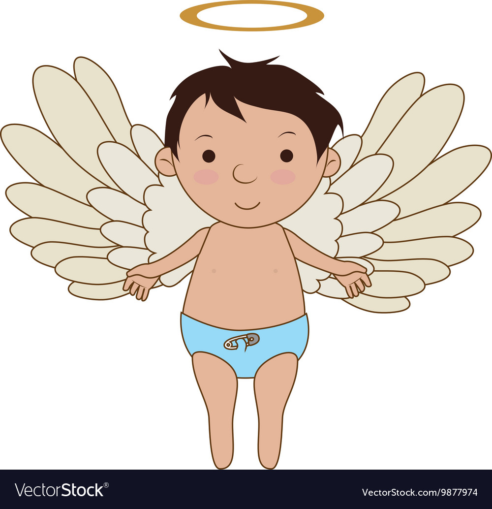 Baby angel cartoon icon.
