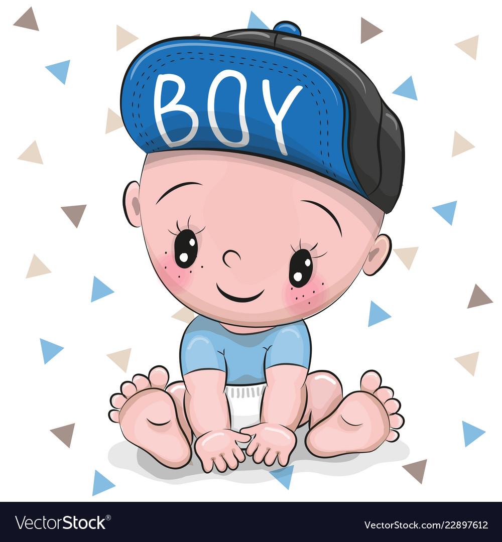 Cute cartoon baby boy in a cap.
