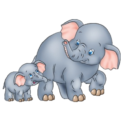 Cute Baby and Momma Elephant Clip Art.