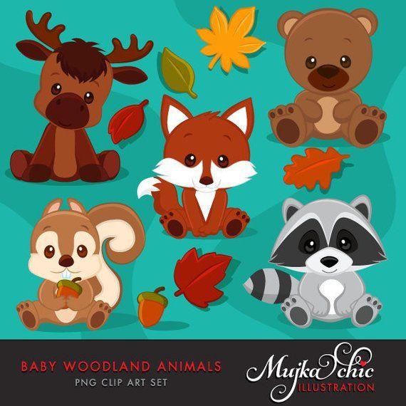 Baby Woodland Animals clipart. Baby fox, Baby squirrel, Baby.