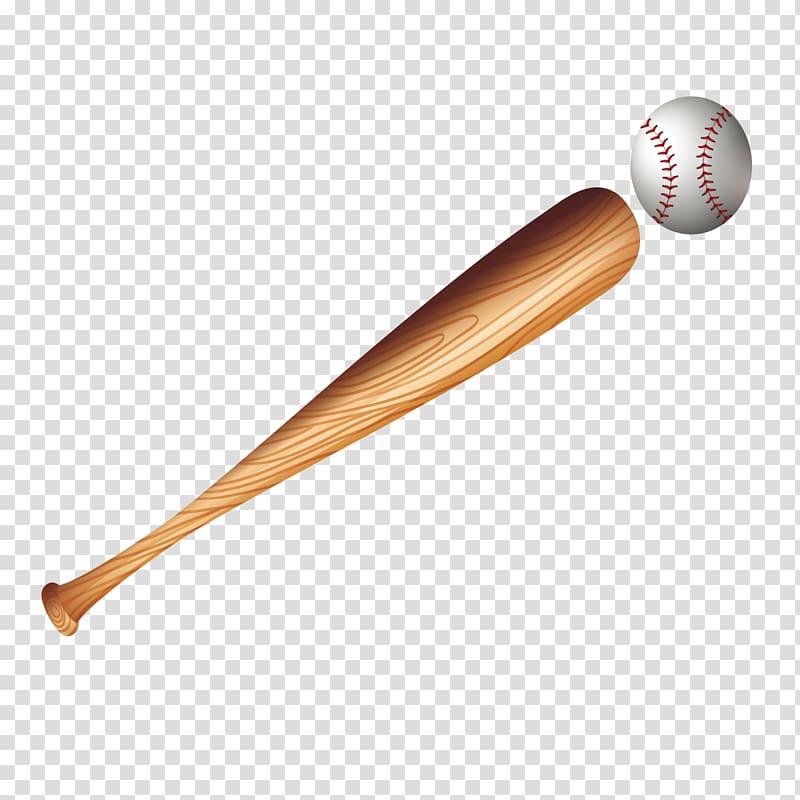 Brown baseball bat and white baseball illustration, Baseball.