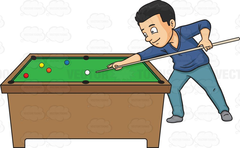 A man playing billiards #cartoon #clipart #vector.