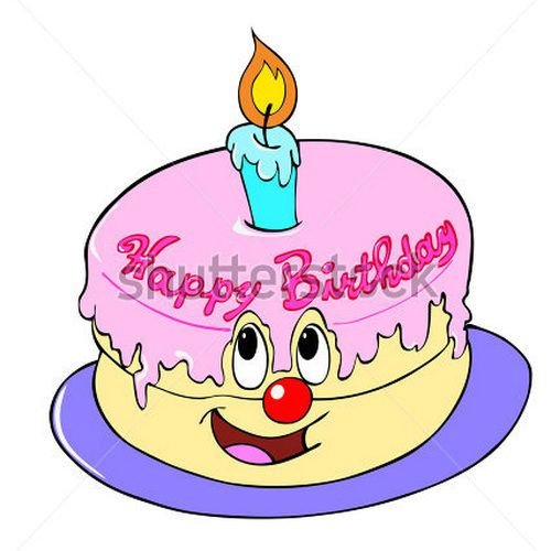 Animated Happy Birthday Cake Clipart.