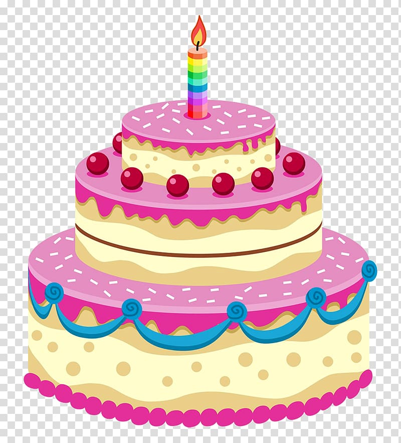 tier yellow and pink birthday cake illustration, Birthday.