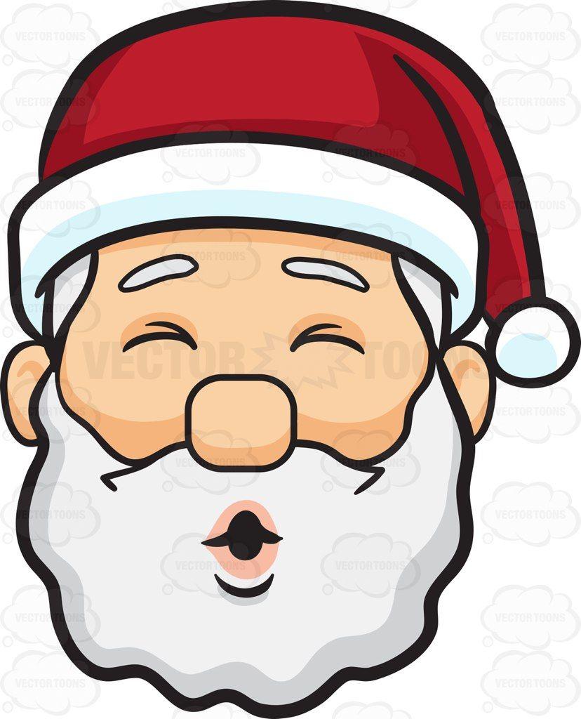 A face of Santa Claus blowing kisses #cartoon #clipart.