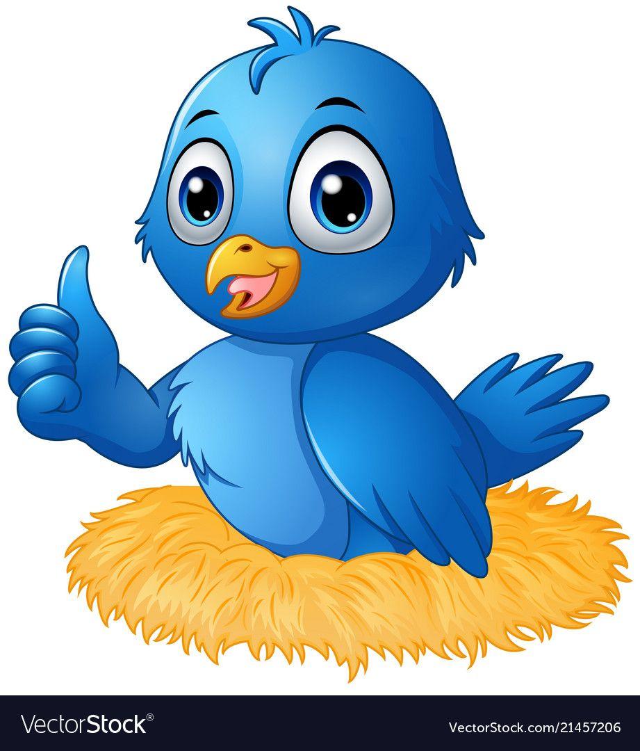 Cute blue bird cartoon giving a thumbs up in the n.