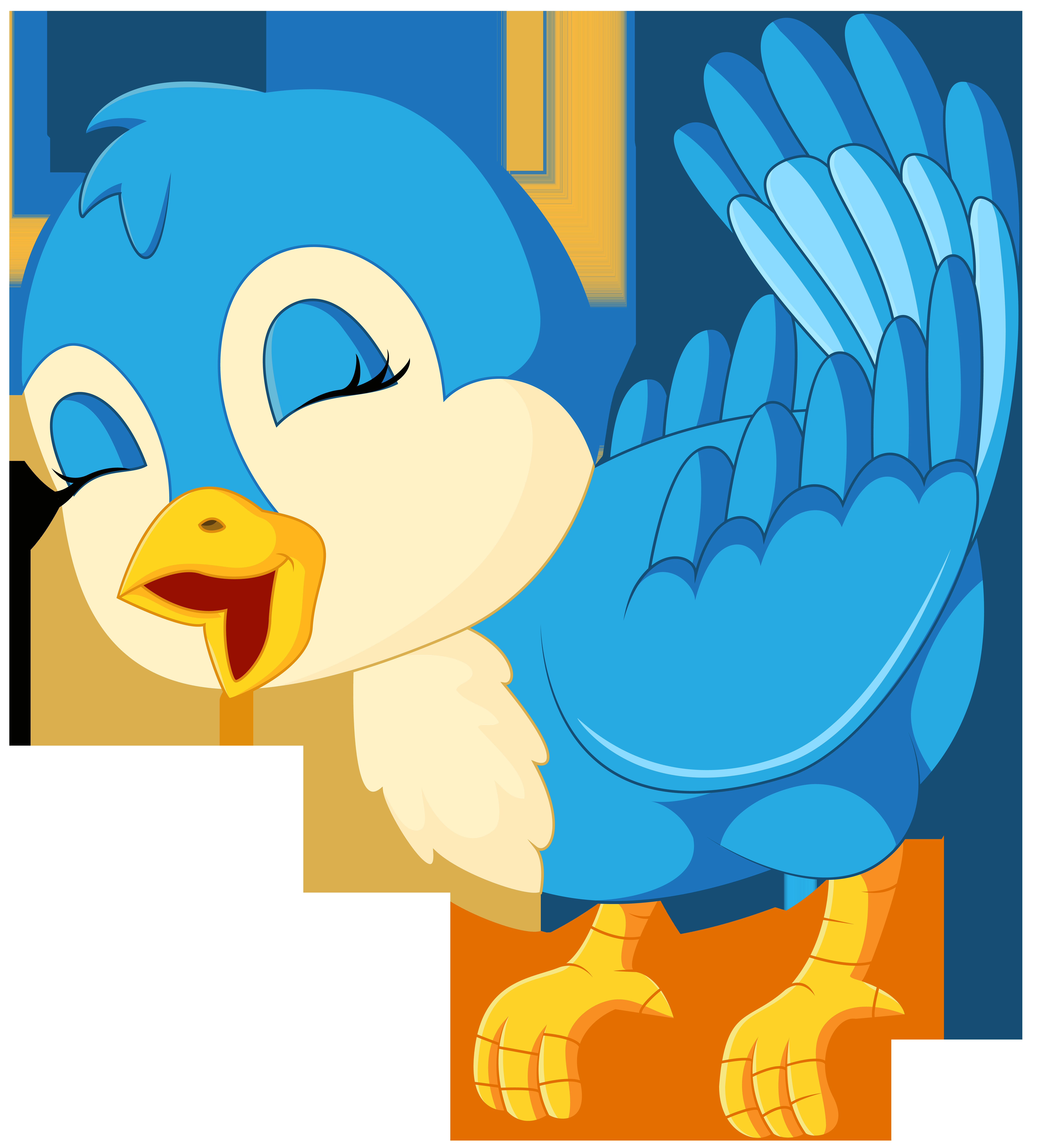 Blue Bird Cartoon PNG Clip Art Image.