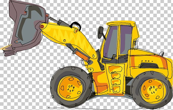 Excavator Cartoon Heavy Equipment Backhoe PNG, Clipart.