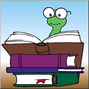 Clip Art: Cartoon Bookworm 1 Color I abcteach.com.