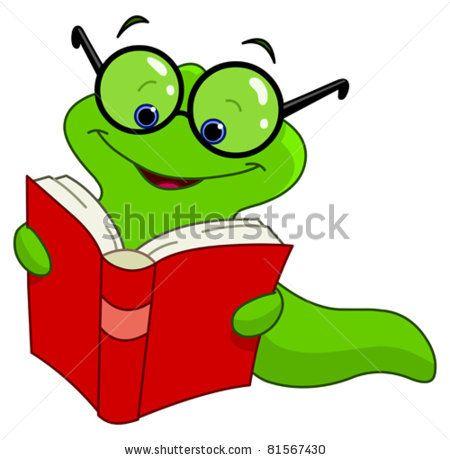 stock vector : Book worm.
