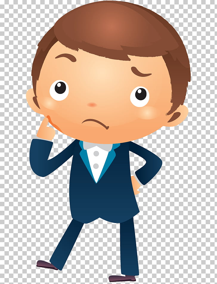 Cartoon Businessperson , thinking man, man thinking wearing.