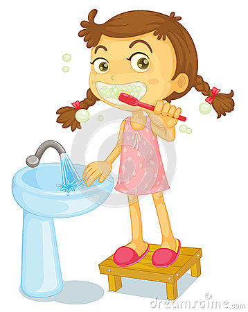 Kid Brushing Teeth Clipart.