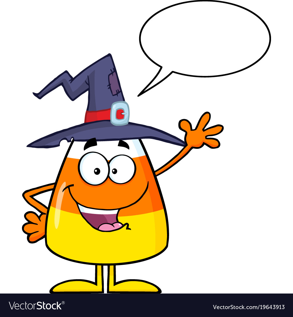 Happy candy corn with speech bubble.