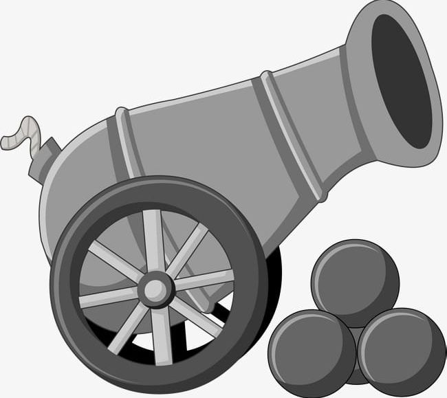 Gray Cartoon Cannon PNG, Clipart, Artillery, Blast, Cannon.