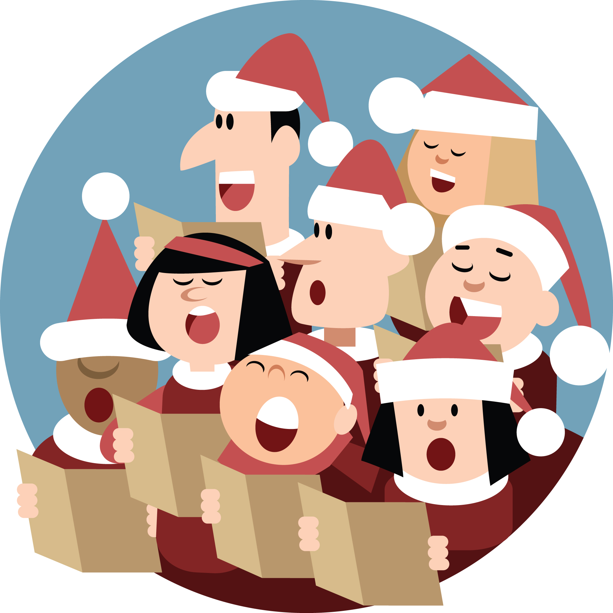 Caroling clipart group, Caroling group Transparent FREE for.