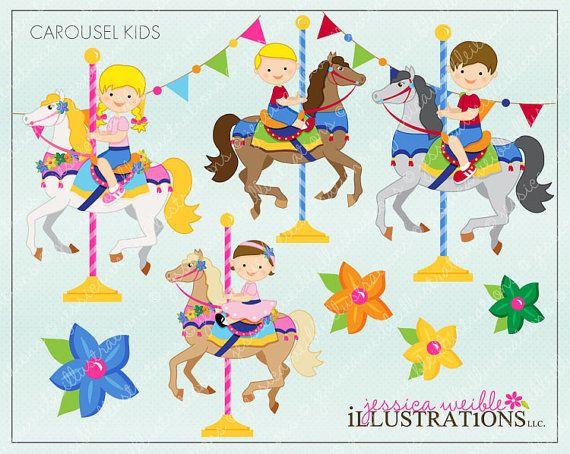 Carousel Kids Cute Digital Clipart for Invitations, Card.
