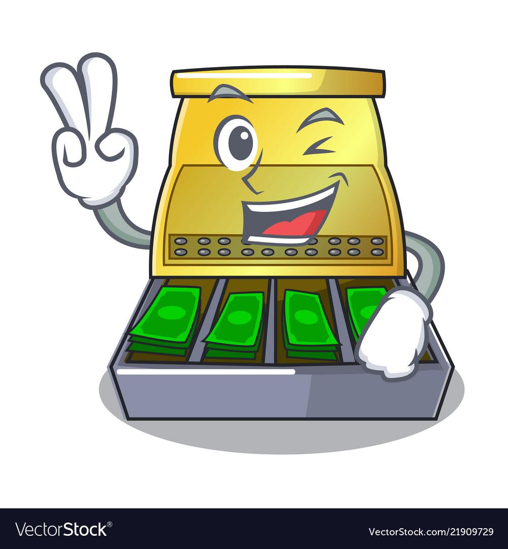 Two finger cartoon vintage cash register front.