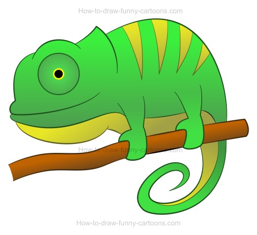 How to Draw A Cartoon Chameleon.