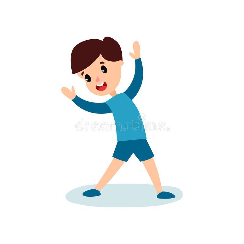 Smiling Little Boy Character Doing Sport Exercise, Kids.